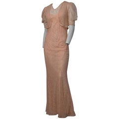 30s Pink Lace 3 Piece Dress with Matching Bias Cut Slip and Bolero Jacket