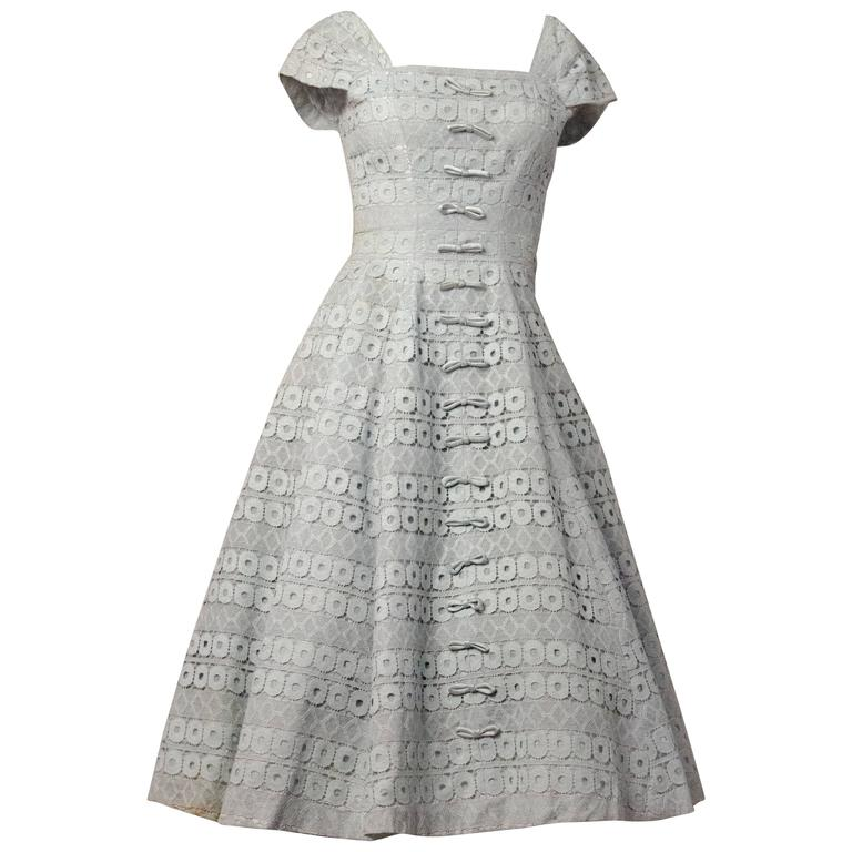 50s Suzy Perret Baby Blue Lace Dress with Bows 1