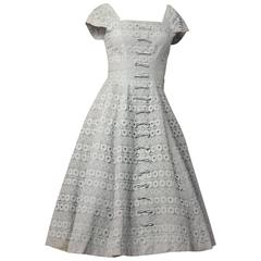 50s Suzy Perret Baby Blue Lace Dress with Bows