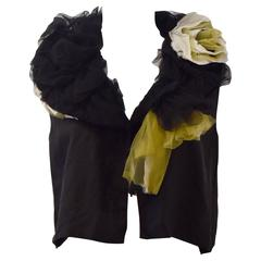 Comme des Garcons 2004 Black Vest with ruffled Tulle Collar