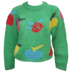 Fruity Fun 1980's Enrico Coveri Cropped Chunky Sweater With Long Tail