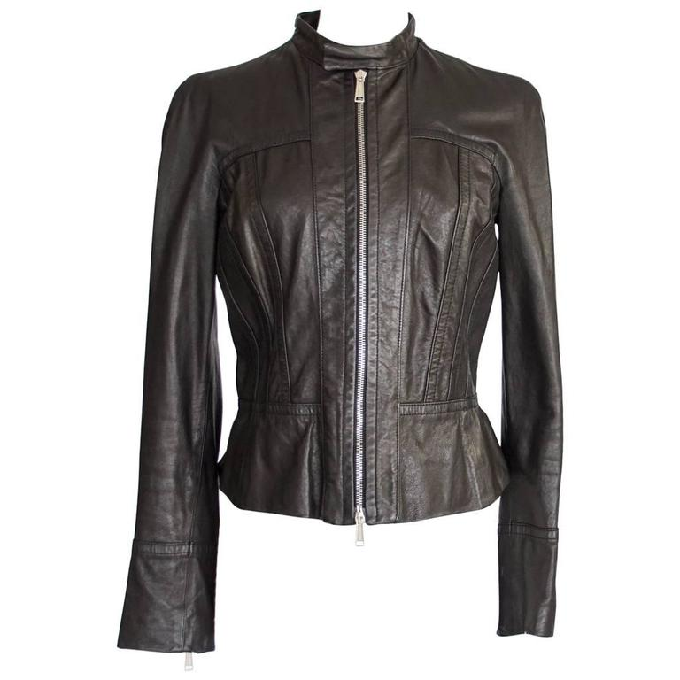 DSQUARED2 Jacket Black Leather Motorcycle Influence Ruffle Detail  46 / 8   For Sale