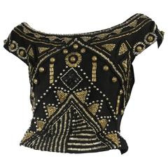 Versace Black & Brass Beaded Top