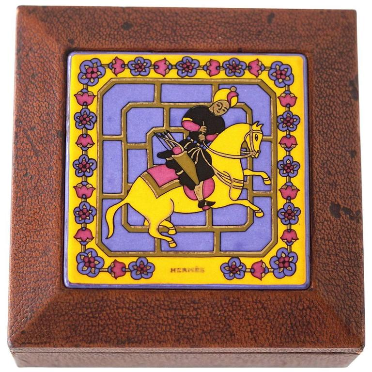 Hermes Vintage Decorative Leather Enamel Top Horse and Rider Box