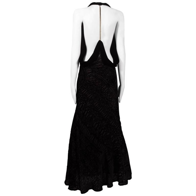 Alexander McQueen backless silk devore bias cut evening dress, circa 2004 For Sale