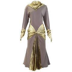 Iconic Vintage THIERRY MUGLER 1980s Grey Jersey and Gold lame 80s dress