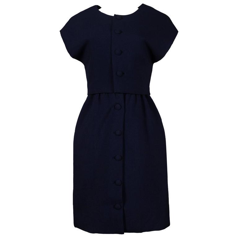 Balenciaga Haute Couture Marin Blue dress suit, circa 1958-1960