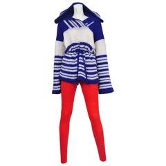 Miyake Red & Blue Stripe Knit Ensemble