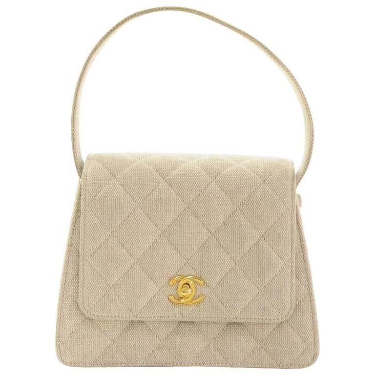 Chanel Beige Quilted Canvas Flap Hand Bag
