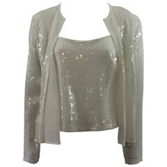 Akris Punto White Silk & Sequin 2 pc Cami and Jacket - 8