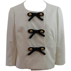 Moschino C&C White Cotton Jacket with Bow Detail