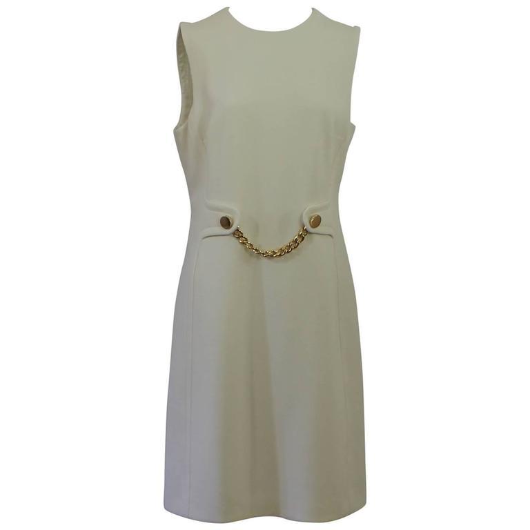 Michael Kors Ivory Lightweight Wool Sleeveless Shift Dress - GHW-10