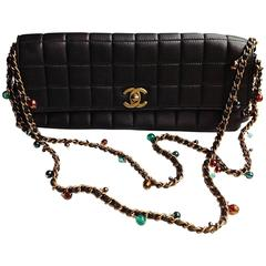 VINTAG Chanel ✿*゚JEWELLED Gripoix Glass Pearl Lambskin Clutch Bag Handbag Tote
