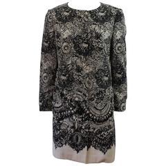 Prada Black & White Lace Printed Silk Taffeta Coat - 42