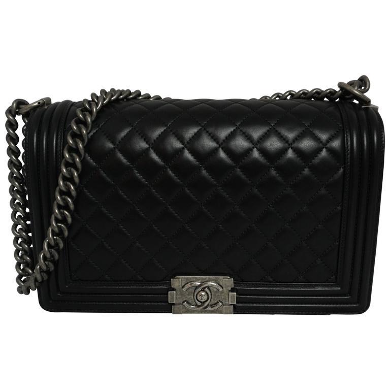 84b7a7f74156 Chanel Black Quilted Lambskin New Medium Boy Bag - PHW- Circa 2014 For Sale