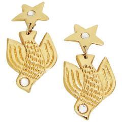 "Great ""Viva Paquita"" vintage birds earrings c.1980"