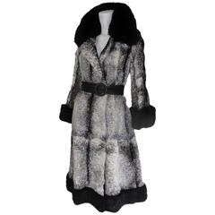 extraordinairy black/white fur coat