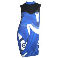 Emilio Pucci Blue Geometric Printed Dress with Sheer Panels