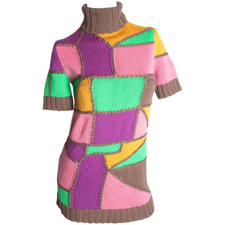 Pucci Multi - Colored Patchwork Knit Sweater 1