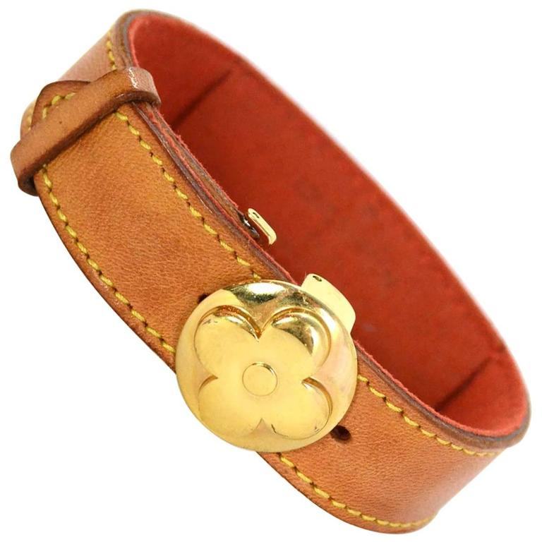 Louis Vuitton Tan Leather Wrap Bracelet sz M GHW 1