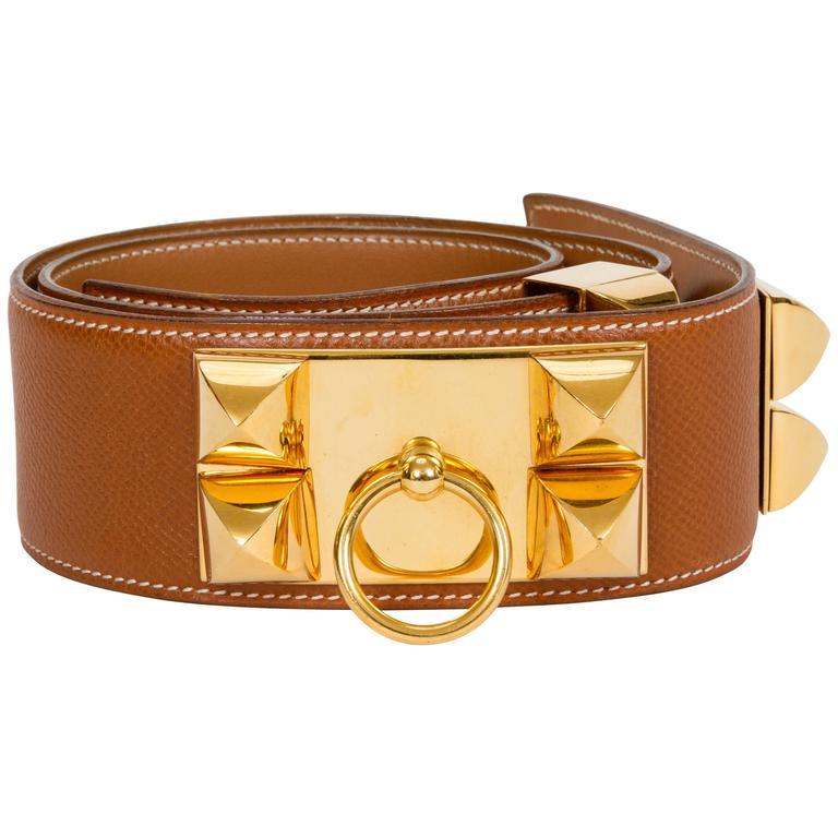 Hermès Collier De Chien 70cm Gold Belt For Sale