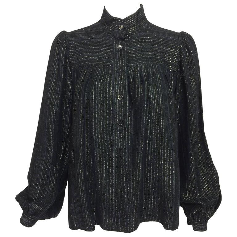 Vintage Yves Saint Laurent YSL black metallic stripe gauze peasant top 1970s