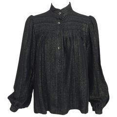 Vintage Yves Saint Laurent YSL black metallic stripe gauze peasant top 1970s