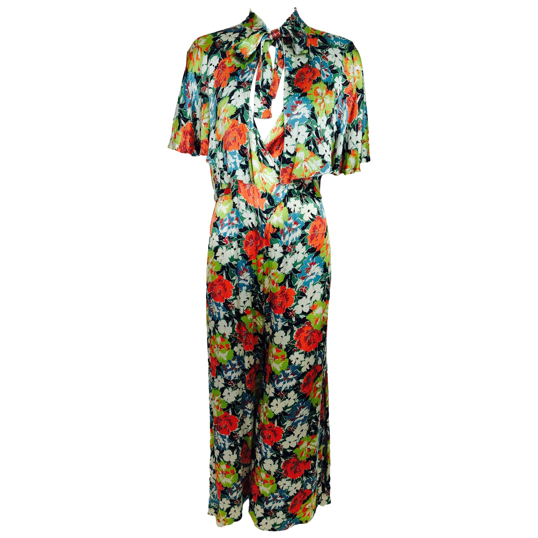 7d830e60e86d04 Vintage floral printed silk crepe satin beach pajamas and cape 1920s For  Sale at 1stdibs