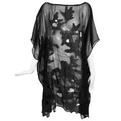 Dries Van Noten black silk chiffon applique cut out caftan tunic OS