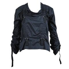 Junya Watanabe Comme Des Garcons Black Buckle Strap Ruching Shirt Size Medium