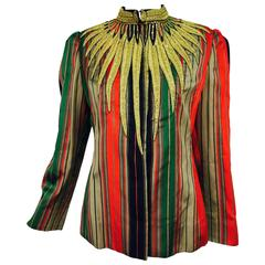 Vintage James Galanos Egyptian inspired gold bullion embroidered jacket 1980s