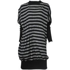 Miyake Black & Grey Stripe Dress