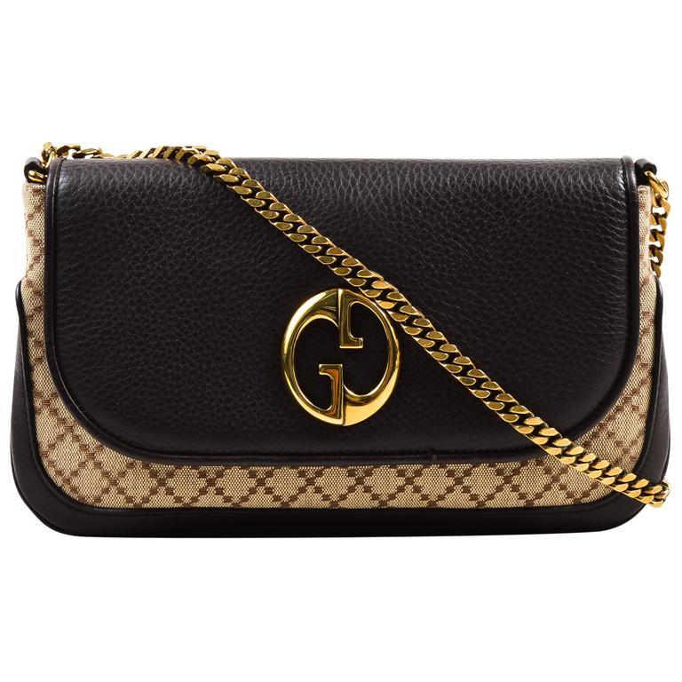 "Gucci Brown Tan Leather ""Diamante"" Canvas ""1973"" Collection Handbag Purse 1"