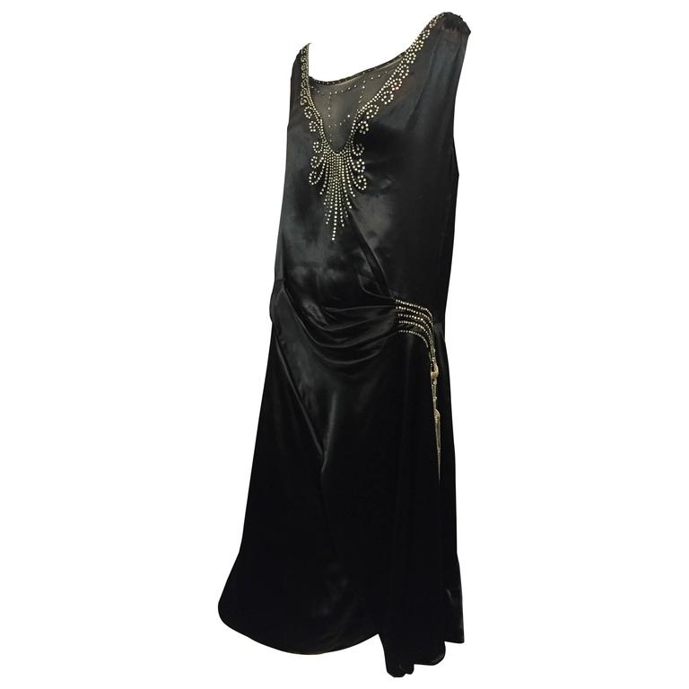 1920s Art Deco Black Silk Satin Gatsby Style Dress With Sheer Panel And Jewels For