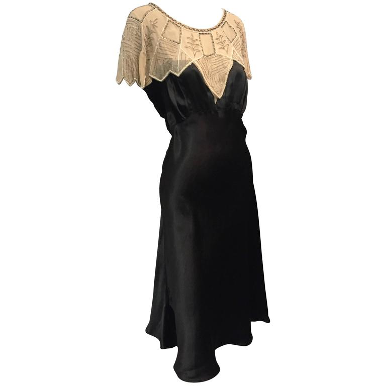 1920s Art Deco Black Silk Satin Gatsby-Style Dress w Beaded Caplet 1