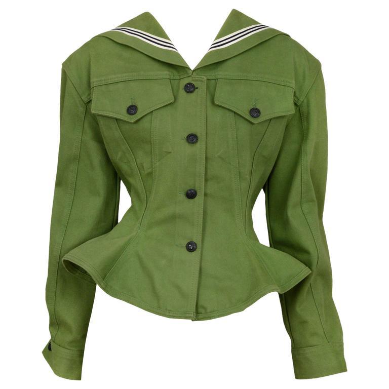 Gaultier Olive Sailor Corset Jacket