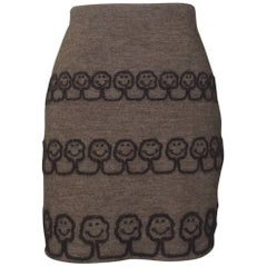 Moschino 1994 EcoCouture Smiley Face Tree Pencil Skirt in Brown Knit