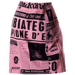 Moschino Couture 1983 Newspaper Print Skirt