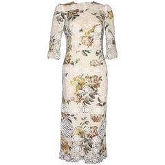 Dolce & Gabbana Floral Silk And Lace Dress Gown