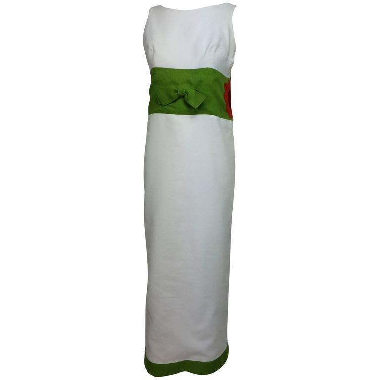 Vintage mod style novelty white pique maxi dress with open flower sides 1960s