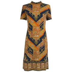 1960's Navy & Orange Wool Austrian Mod Dress