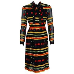 1973 Givenchy Colorful Striped Illusion Pleated Silk Ascot-Bow Belted Dress