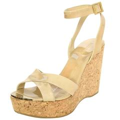 Jimmy Choo Patent Leather Nude and Cork Wedges Sz 39