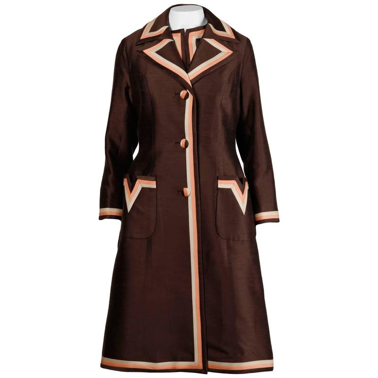Stunning 1960s Vintage Silk + Wool Pink and Brown Striped Coat + Dress Ensemble 1
