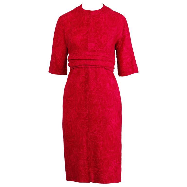 Donald Brooks 1960s Vintage Pink + Fuchsia Wool Wiggle Dress