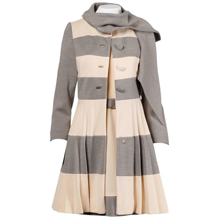 Lilli Ann 1960s Vintage Mod Wool Striped Coat, Dress + Belt 3-Piece Ensemble 1