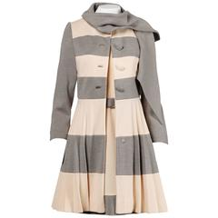 Lilli Ann 1960s Vintage Mod Wool Striped Coat, Dress + Belt 3-Piece Ensemble