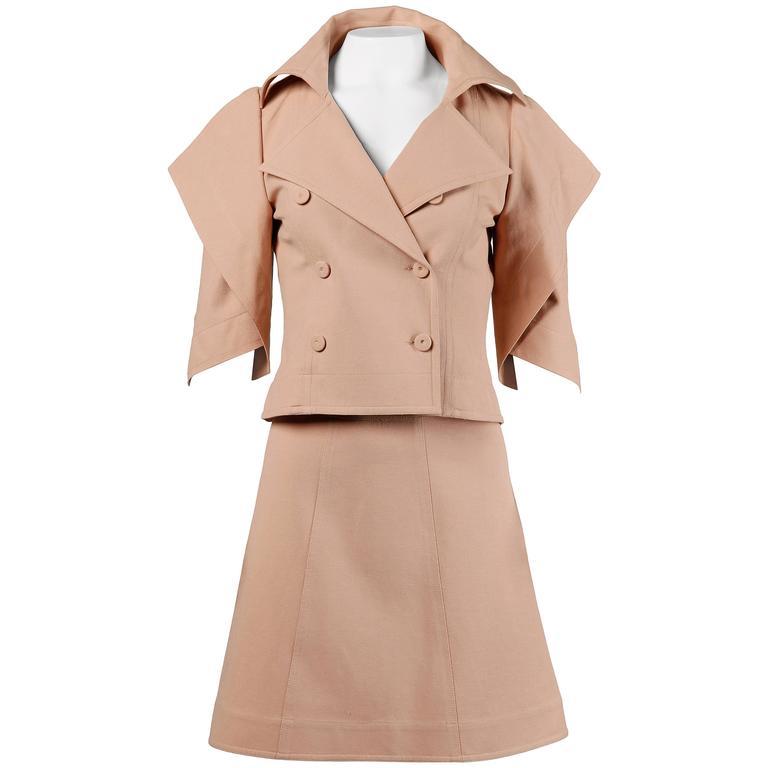 Fendi Blush Pink Avant Garde Jacket and Skirt Suit 2 Piece Ensemble For Sale