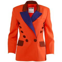 Moschino Couture! Vintage Wool Color Block Blazer Jacket