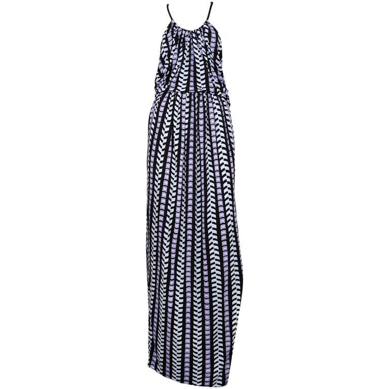 Balenciaga Purple & Black Geo Print Maxi Dress 2012